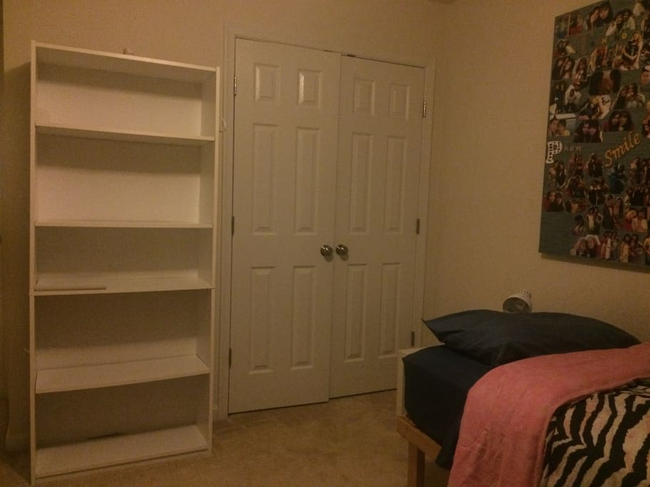 A large closet space and book case.
