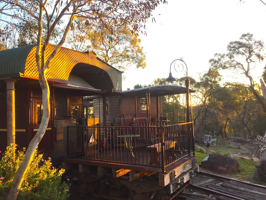 The sun deck on the back of the Dining Car and the Caboose.