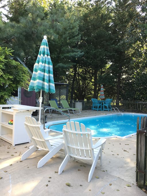 We have a small pool for a dip. (Pool used at your risk, No Lifeguard, No rough housing) pool open 10 am - 6 pm.