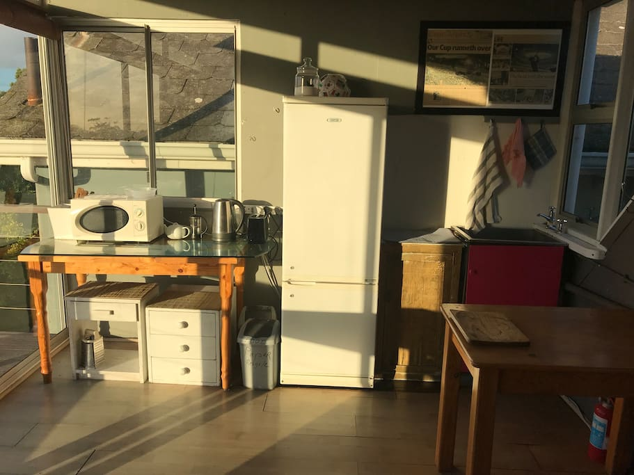 Open plan kitchen with microwave, fridge, kettle and toaster.