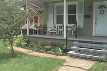 Our front porch is available for enjoying songbirds and for our smoking guests.