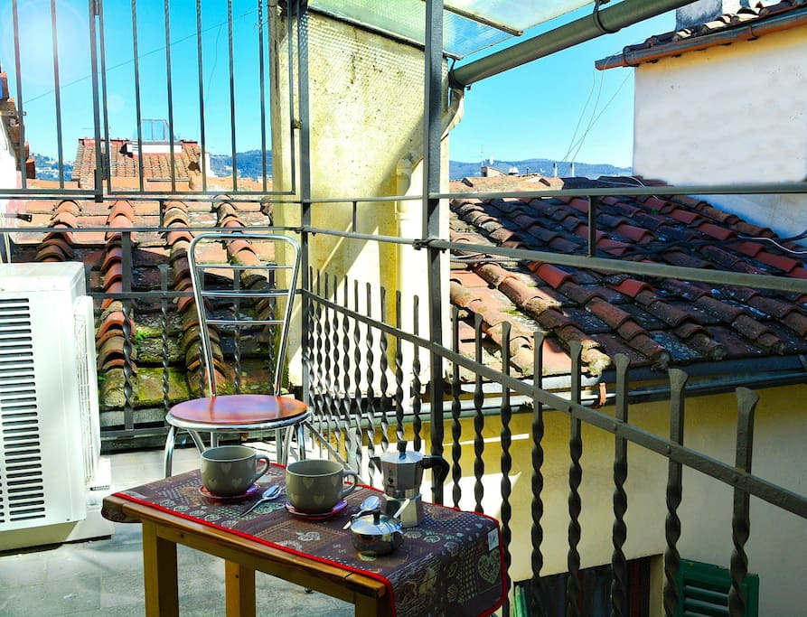 small roof top terrace with lovely views