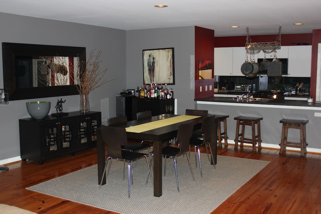 Open concept dining area on second floor