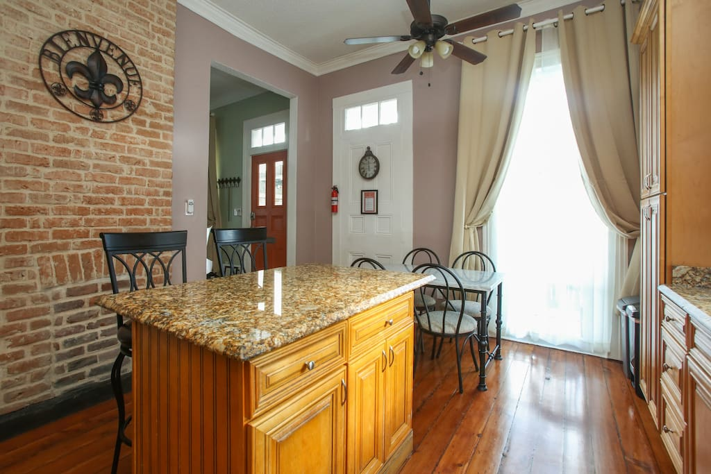 Gourmet kitchen features everything you might need to prepare and serve a meal.  Seating for 6 plus another folding table and folding chairs.