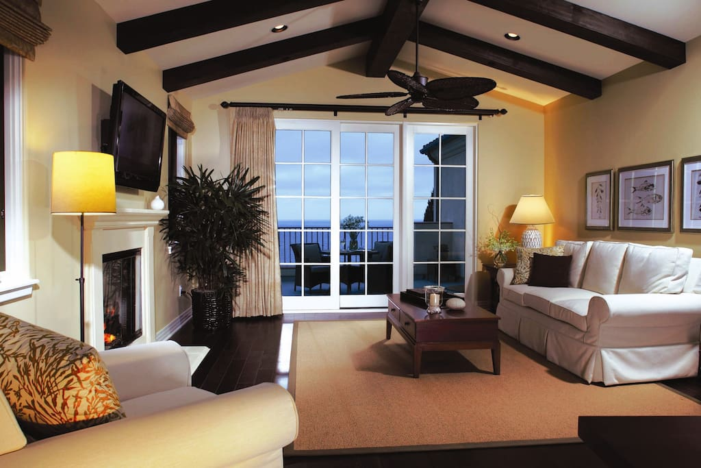 Living Room w Slider to Large Balcony,Fireplace,Queen and Twin Sleepers