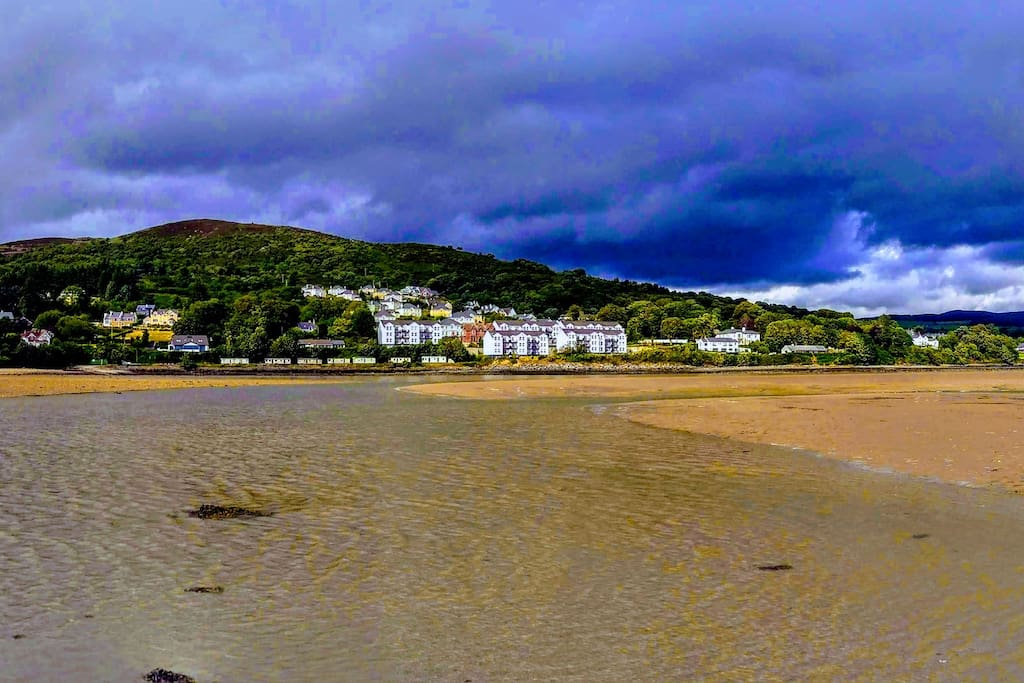 The apartment as seen from Lough Swilly at low tide.  The village of Fahan includes many pleasant coastal and mountain walking trails.