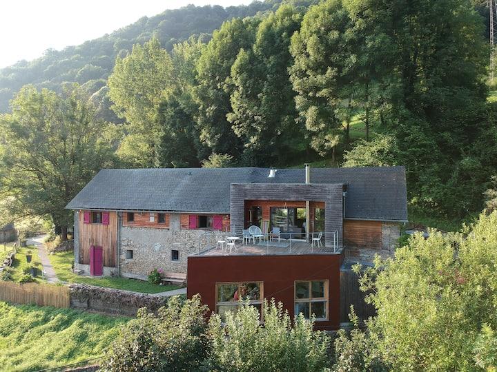 Grande grange rénovée pyrénées -jacuzzi et billard