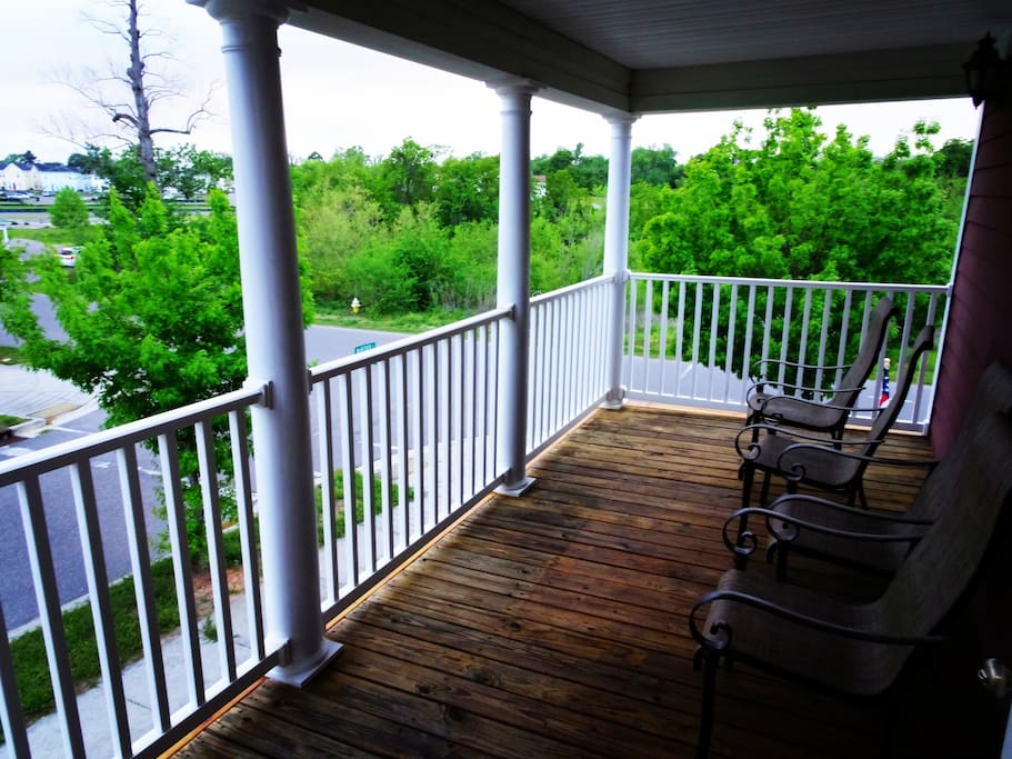 large deck on the 2nd floor with beautiful view