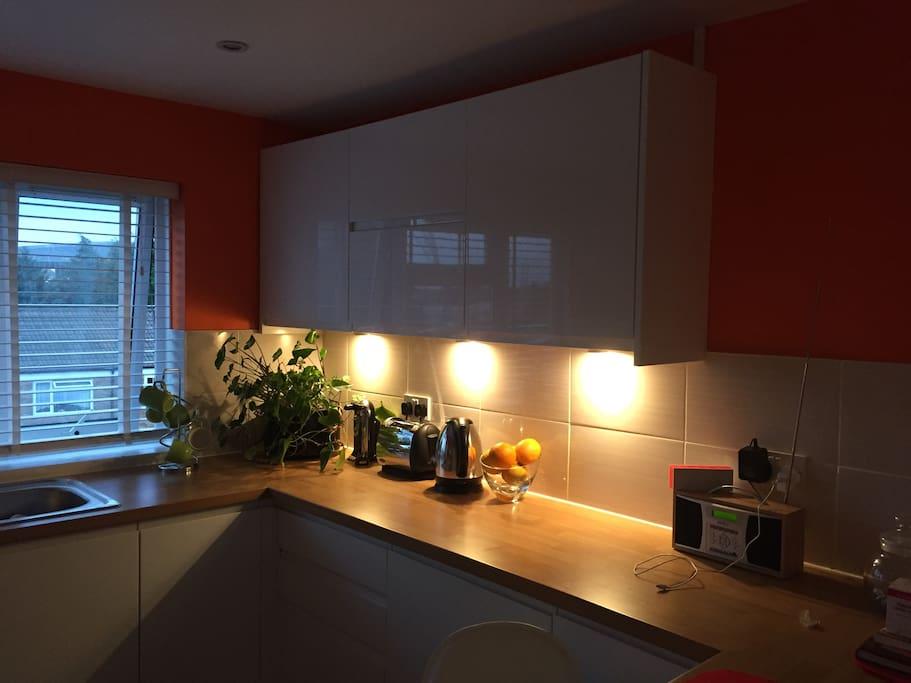 Kitchen work tops in an evening lighting