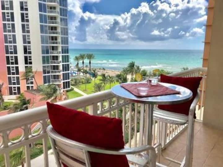 6 Months Min-Oceanfront/view studio with balcony.