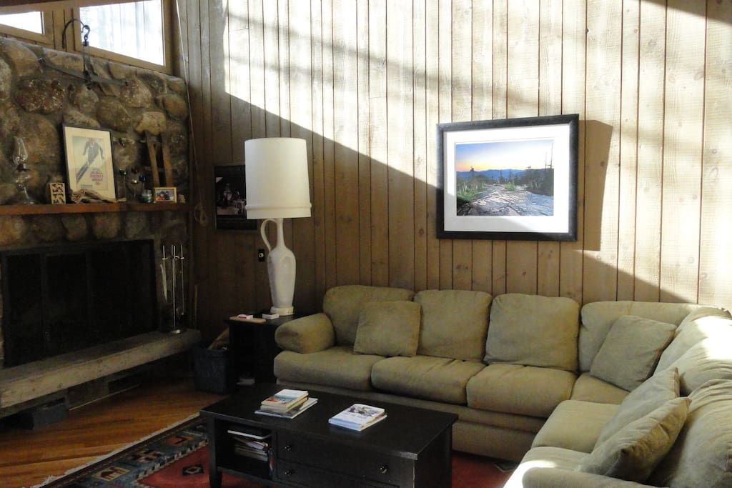 Fieldstone Fireplace, Comfy Couch
