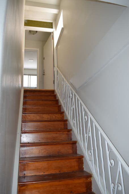 Original wood Staircase to your private apt.