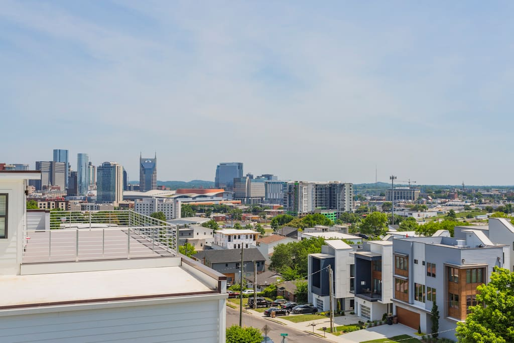 View of downtown Nashville from our rooftop deck!
