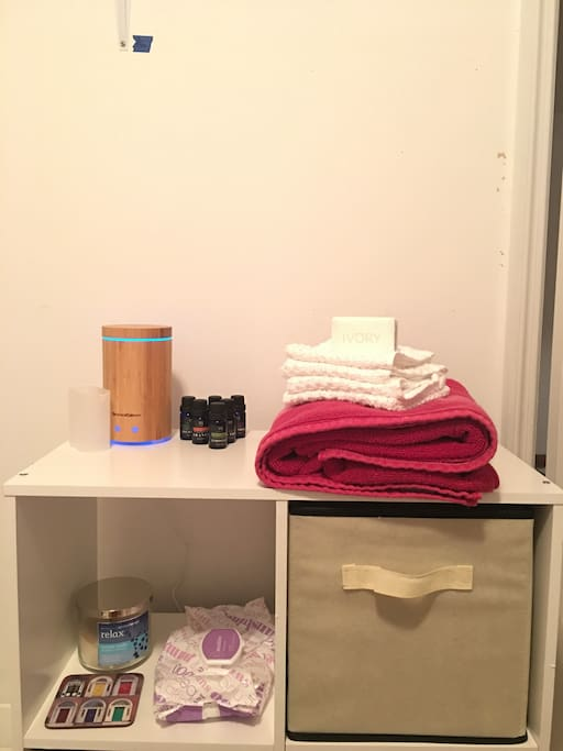 Everything you'll need for a nice shower. Even some essential oils for some relaxing aroma therapy.