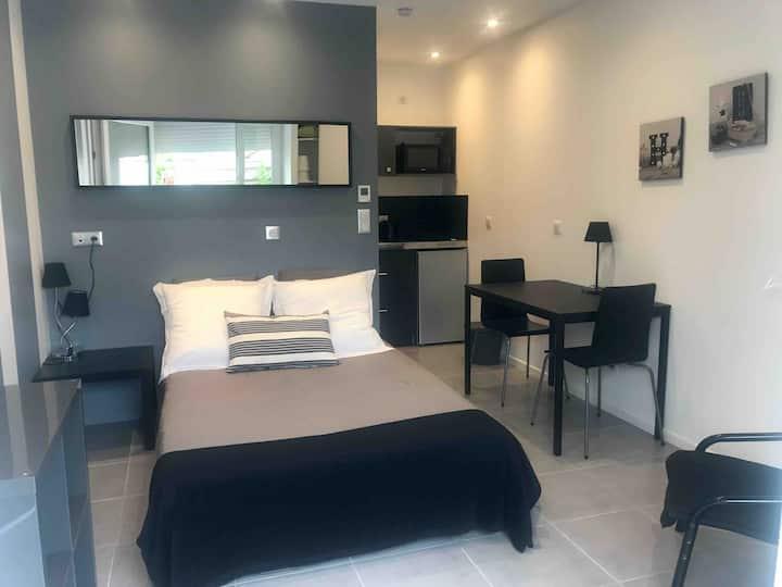 Chambre , kitchenette, salle d'eau cosy à Ecully