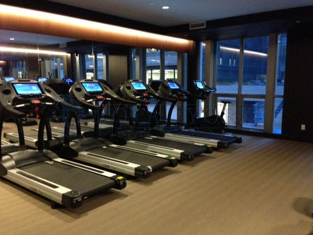 Gym with cardio room, spin, and weight room.
