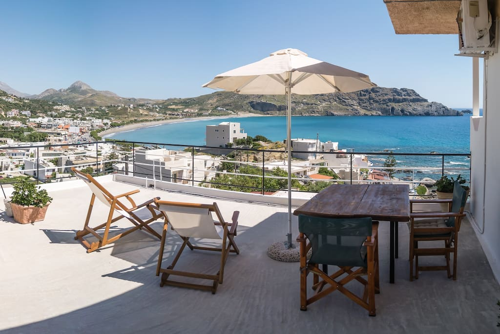 Penthouse double studio with terrace in plakias for The terrace top date