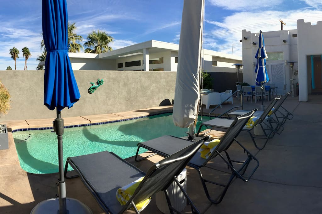 Pool Patio--fountain, 4 chaise lounges; 2, 9' umbrellas, 1, 11' umbrella; 1, 10' cantilevering/tilting umbrella; fire pit (seats 4); dining table (seats 6); propane heaters (Fall/Winter); misting system