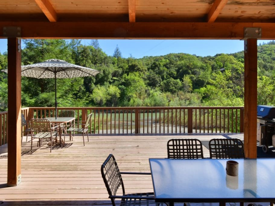 Large patio deck perfect for grilling and looking out at the lush river scenery