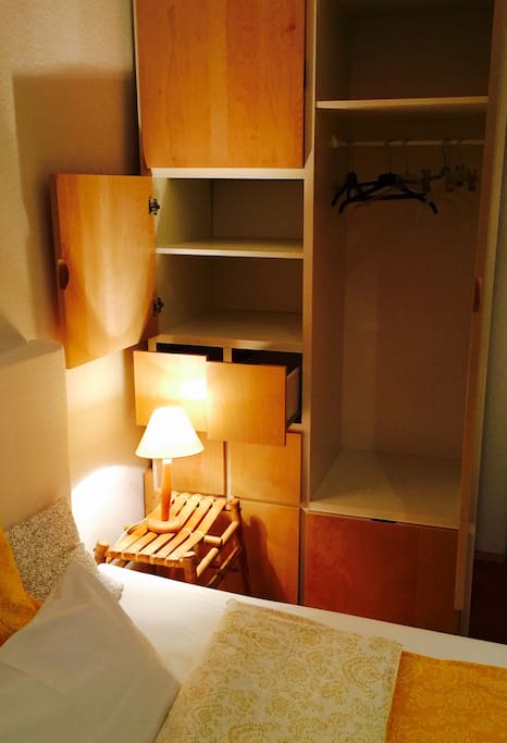There is plenty of room for your clothing in the wardrobe