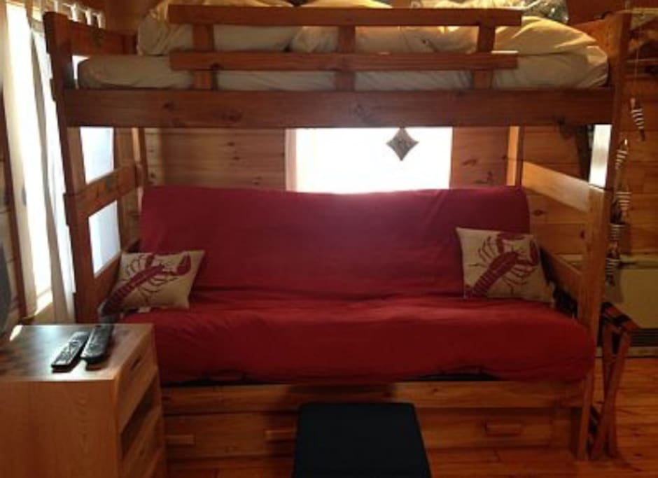 Futon and bunk bed