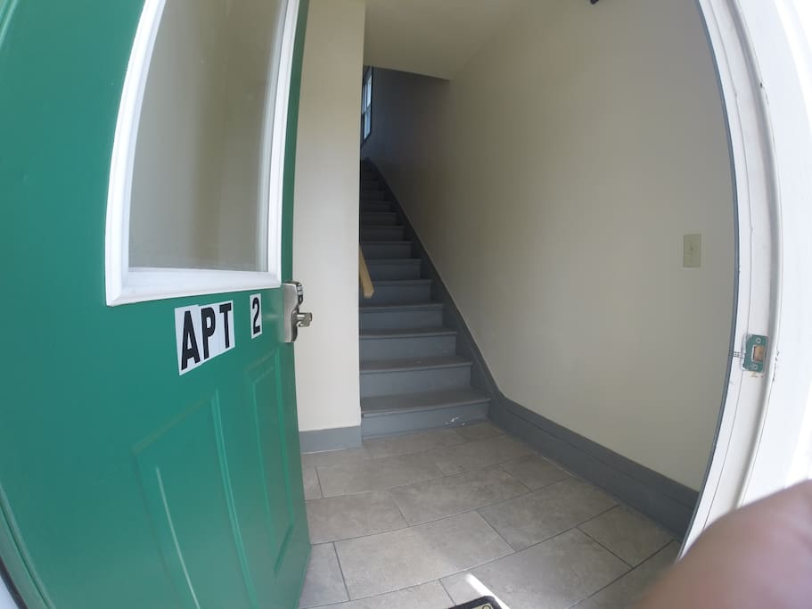 Stairs leading up to Apt. 2