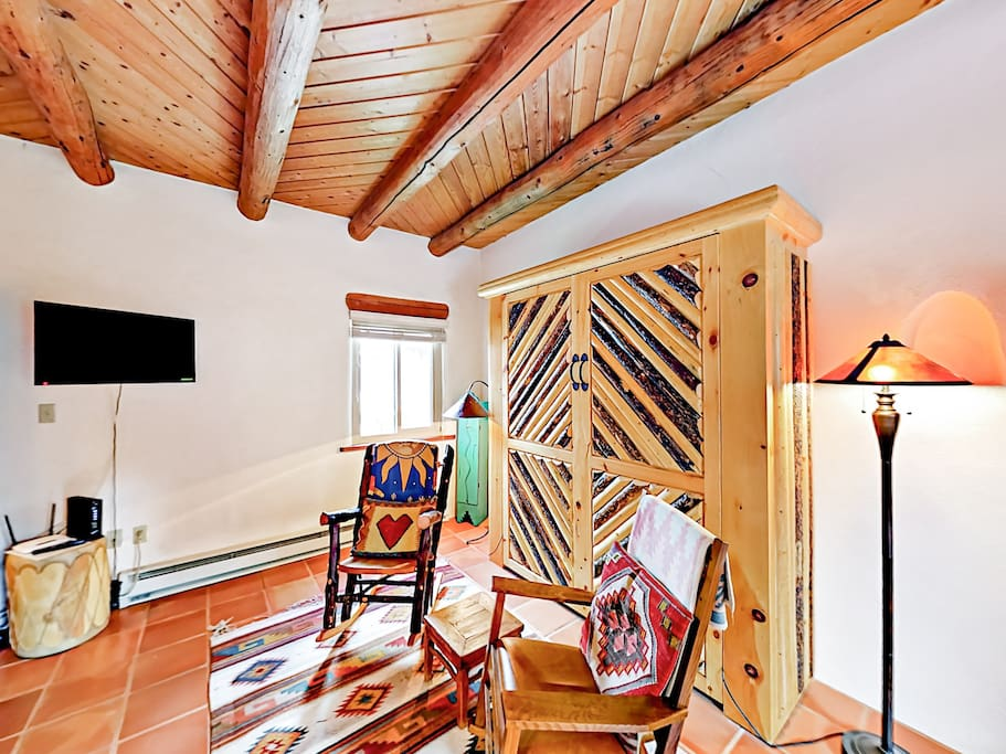 """Known as """"Pinon Treasure,"""" this studio is chock-full of personality and Southwestern style."""
