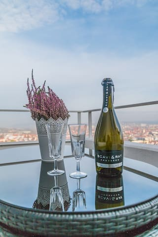 Balkon mit wunderschöner Aussicht über Ansbach
