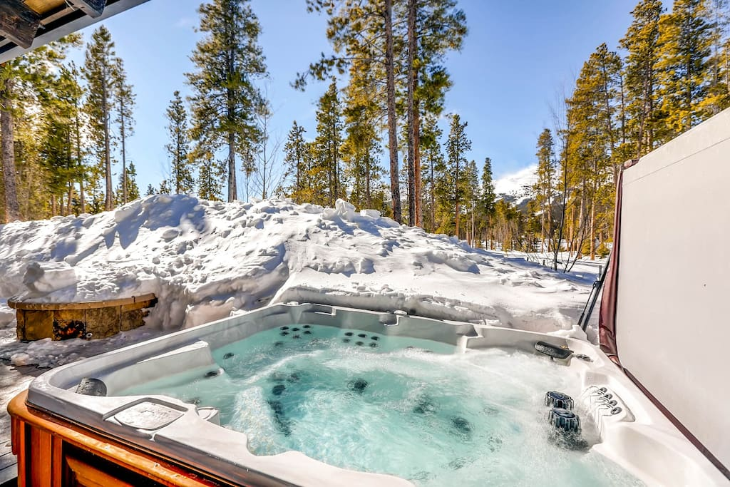Take a soothing soak in the private spa after a day on the slopes.