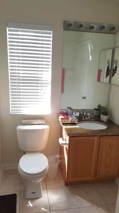 Suite Master Bathroom with Bath fresh towels, soap, shampoo, conditioner, hair dryer , toothpaste, Blowdryer view A