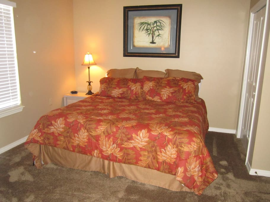 King bed with Tommy Bahama bedding