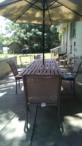 Enjoy outdoor dining on the patio.