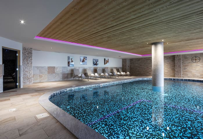 Check out the shared, spacious indoor pool.
