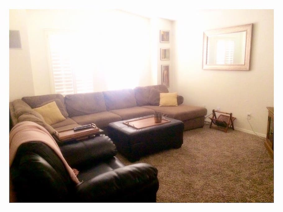 comfortable sectional with recliner.