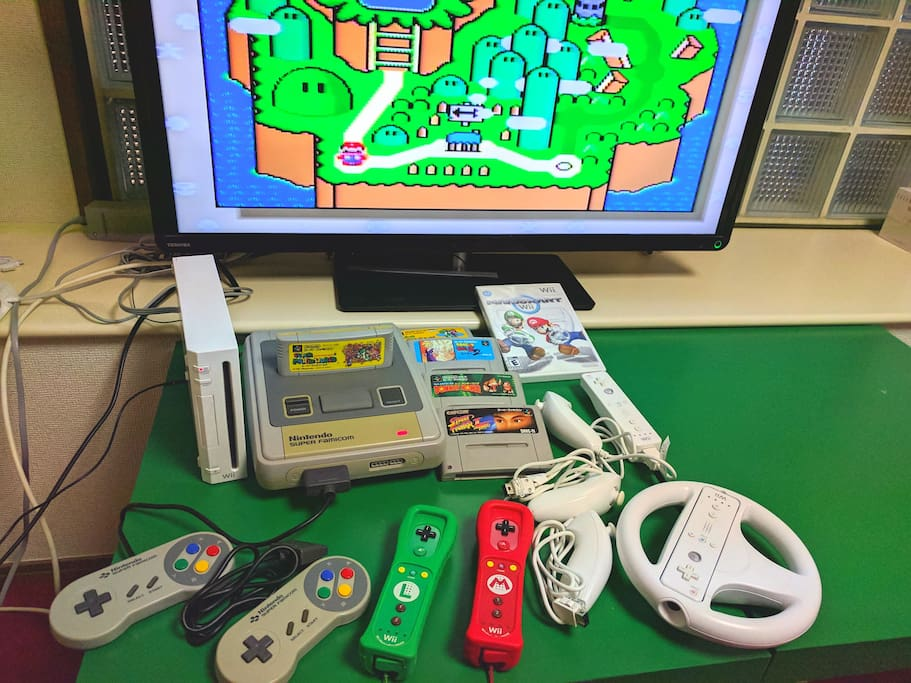 Classic SNES games and Wii with 4 controllers!