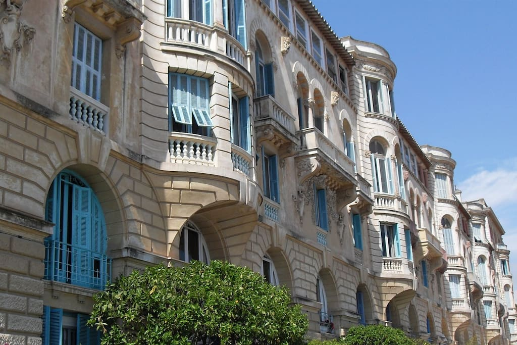 Riviera Palace Front Building - Impressive facade with its gargoyles.