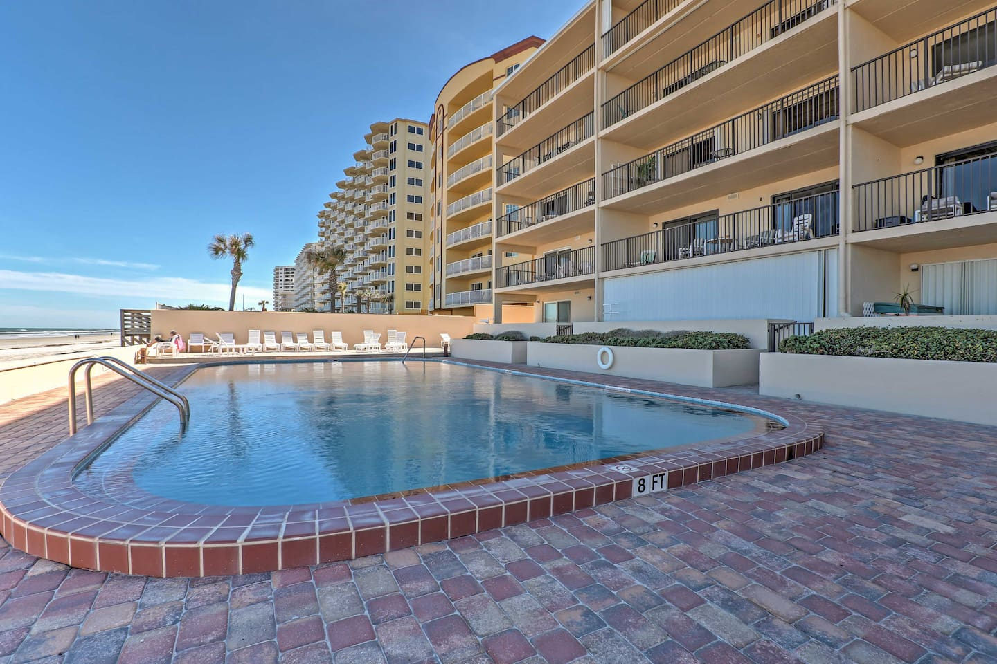 Escape to the white sandy beaches of Daytona Beach Shores when you stay at this beachfront 2-bedroom, 2-bathroom vacation rental condo!