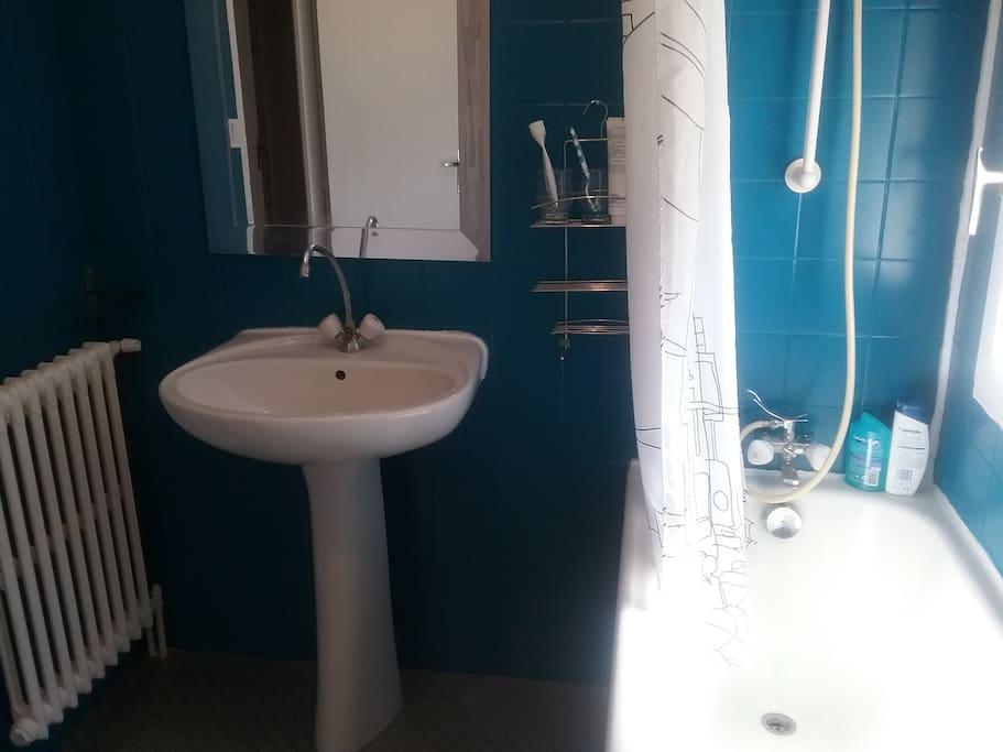 Salle de bain et WC privés. Nous mettons à votre disposition des serviettes de toilettes.