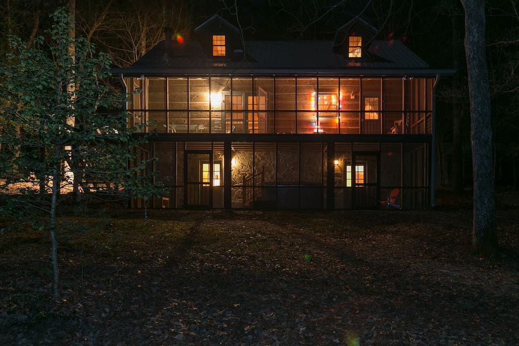 Rear of cabin at night
