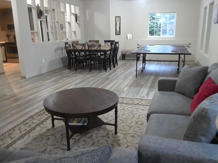 Two New Full Size Sleeper Sofas and New Ping Pong Table. Dining Table and New Kitchen. Room for everyone!