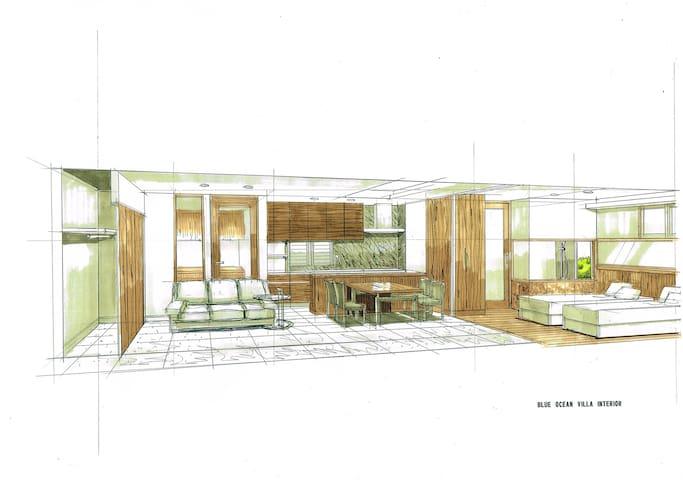 お部屋は、広々としたスイート60㎡の1LDKと300㎡の専用ガーデンです。キッチン、リビングダイニング、寝室(セミダブルベッド2台・エキストラベッド2台)、お風呂、洗面所、トイレ、エアコン2台を備えており、外気に左右されず快適にお過ごしいただけます。The villas feature a spacious 60m2 1LDK design, and a 300m2 private garden. Each Villa is equipped with two air conditioners.