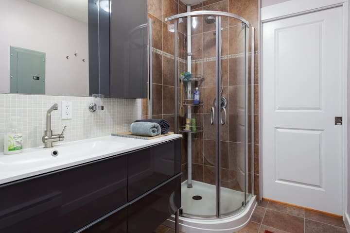 the bathroom with shower, toilet; shared with washer & dryer