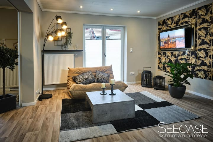 SEEOASE - Wohnung am Möhnesee, (Möhnesee), Ferienwohnung, 43qm, 1 Schlafzimmer, Sonnenterrasse, max. 2 Personen