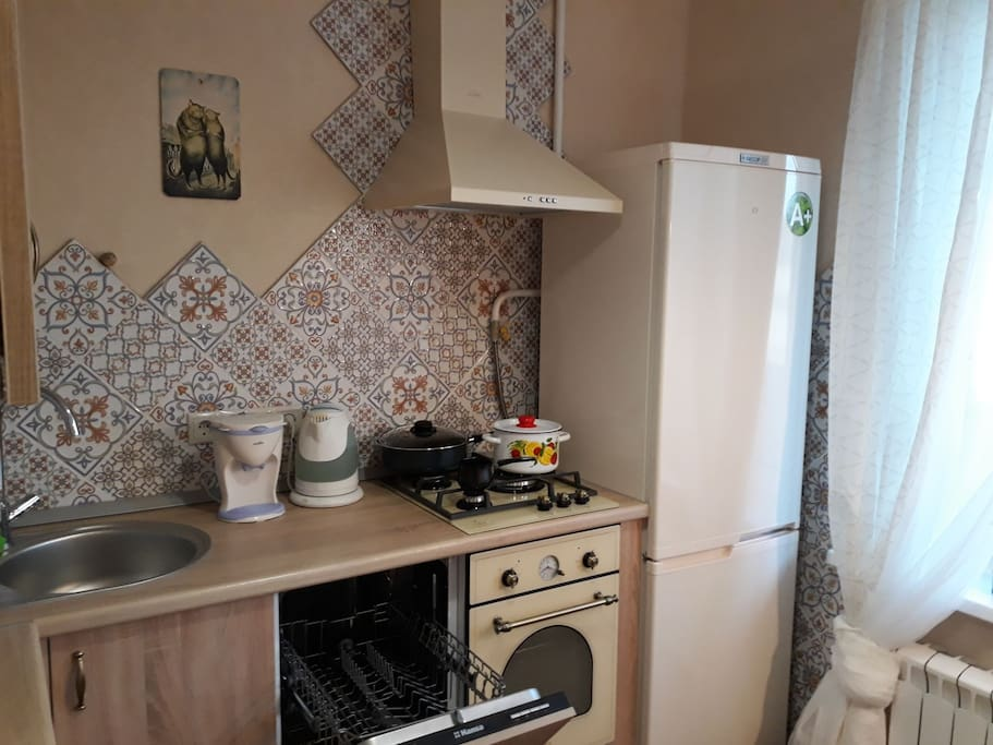 Kitchen with refregerator, dishwasher, coffemachiene and so on.