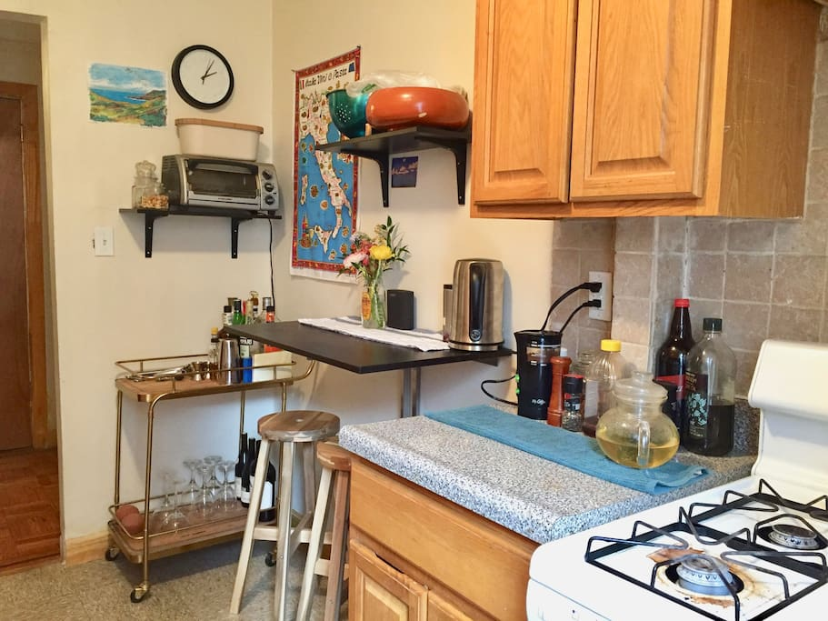 the breakfast nook in the kitchen