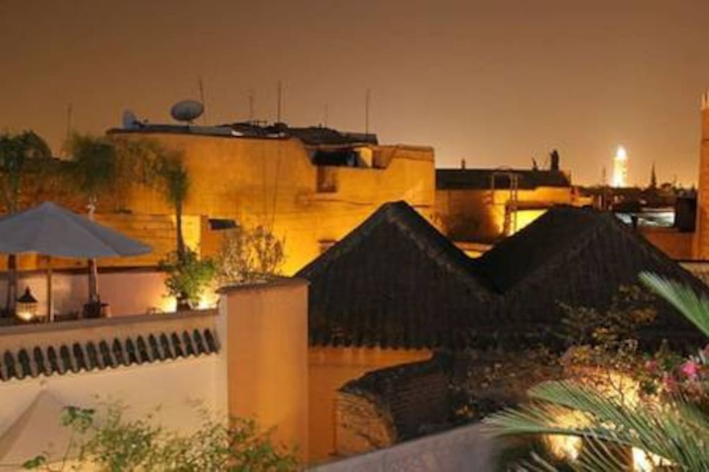 Riad's Rooftops at Night