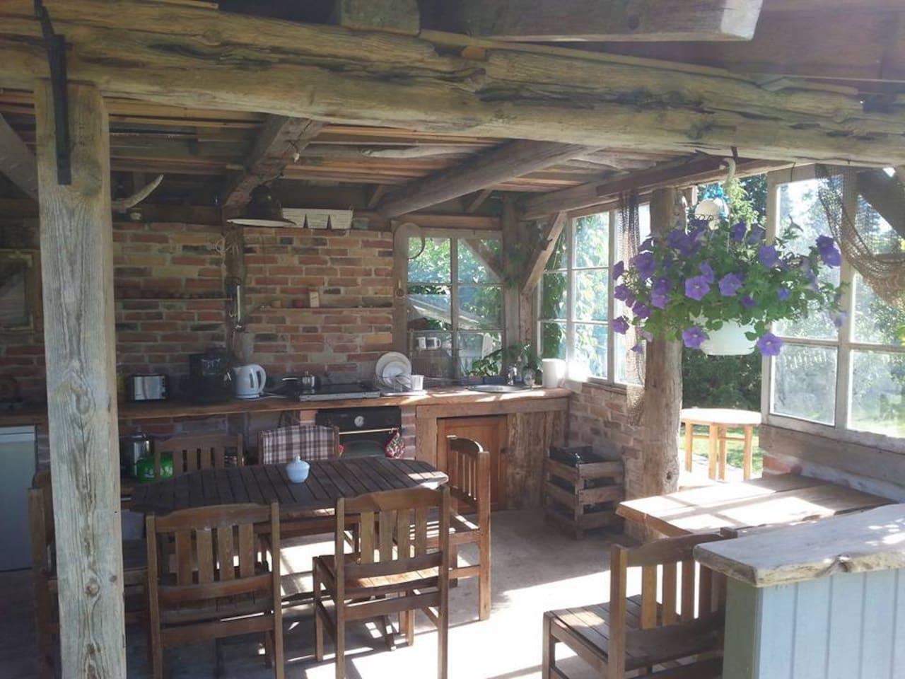 Summer kitchen in the garden