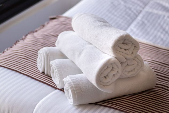 Our white towels are ordered from hotel suppliers.