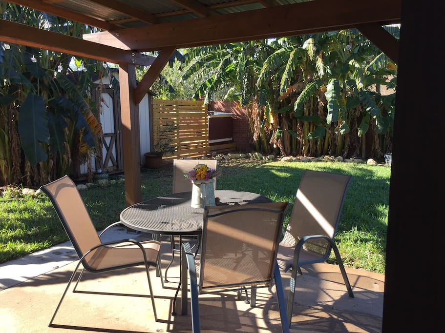 Enjoy a glass of wine on the back patio