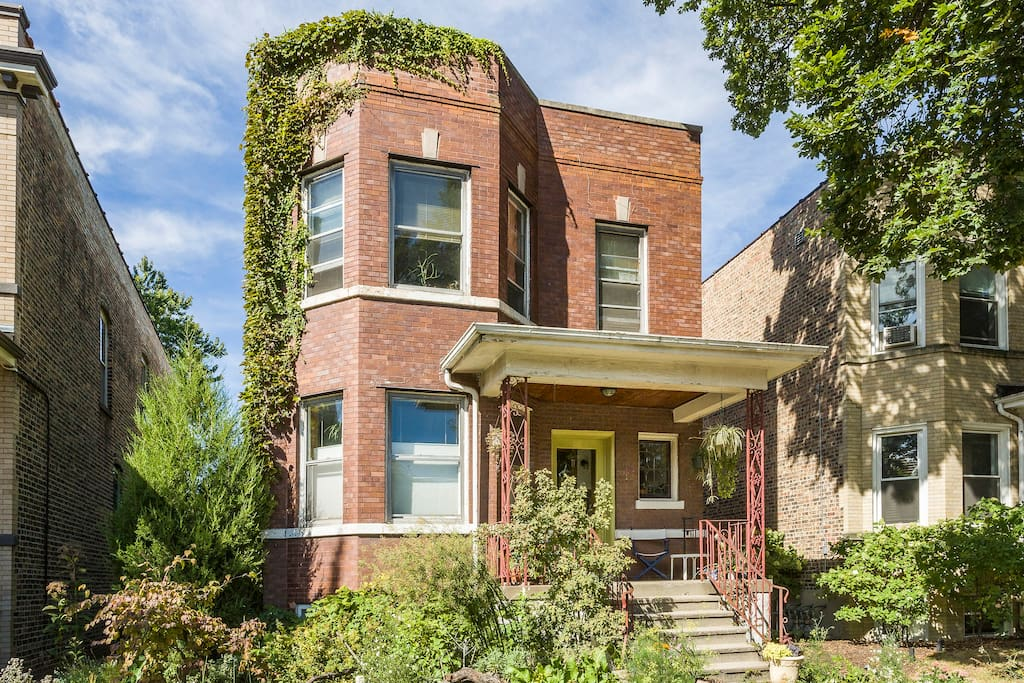 A Chicago-style classic, the red-brick two-flat.